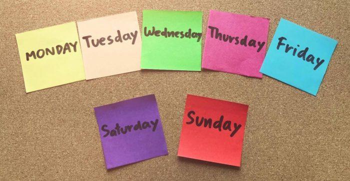 أيام الأسبوع بالإنجليزي للأطفال